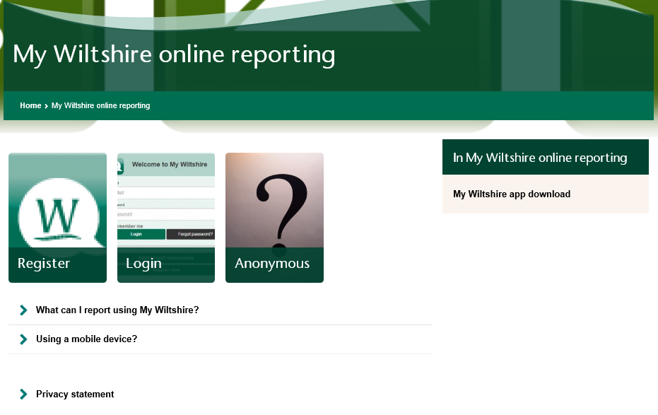 Report an Issue to Wiltshire Council